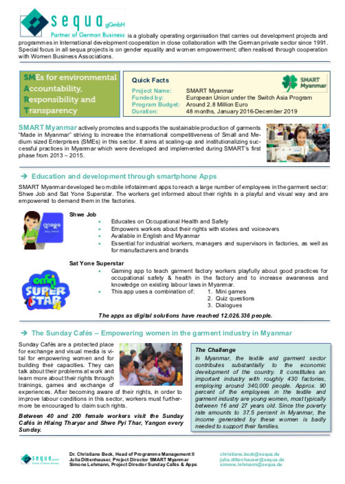 Factsheet on women's empowerment activities of SMART | SMART Myanmar